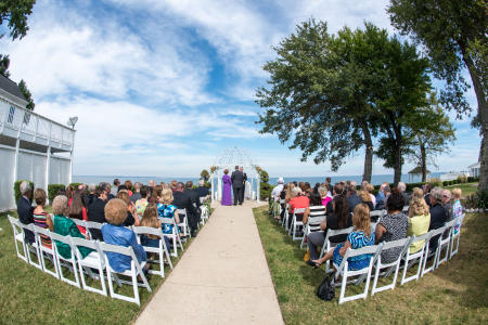 Fisheye view outdoor wedding